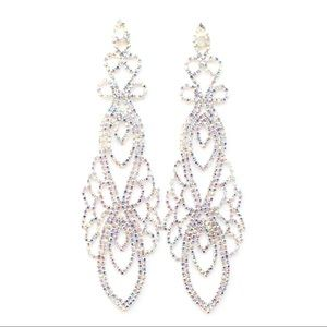 "Ultra Dramatic 6.5"" AB Crystal Chandelier Earrings"